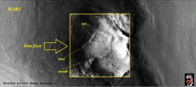 Lion face on Mars. MATTEO IANNEO Italian Researcher ©