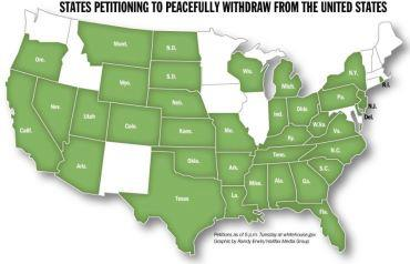 Map Showing States Preparing Legislation For Secession The Green - Alternative us map