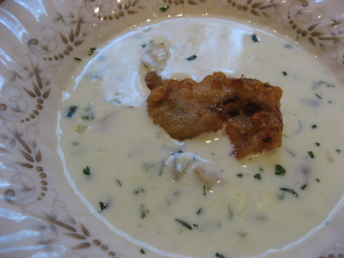... oyster stew. Oyster stew with a deep fried oyster as a garnish is so
