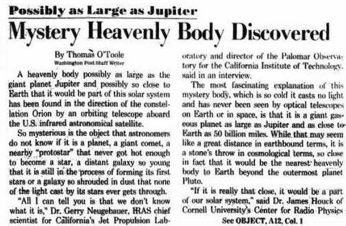 """НАСА, Google Sky Map и Worldwide Telescope скрывают """"Великого Красного Дракона""""? В сентябре мы об этом узнаем Mystery_1983_WashingtonPosta"""