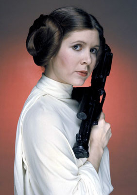 "Carrie Fisher posing as ""Stars Wars"" Princess Leia"