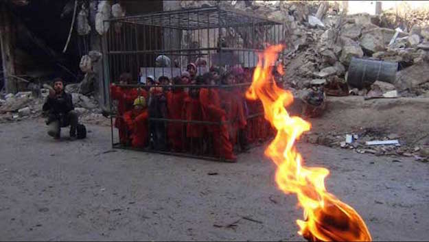 Isis has children locked in a cage and threatens to burn them alive