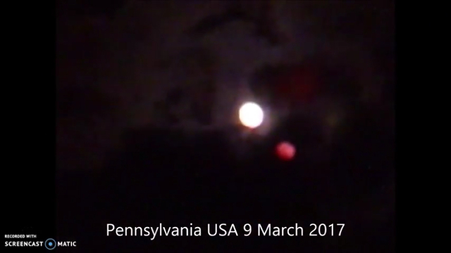 image red brown dwarf near the moon on March 9th