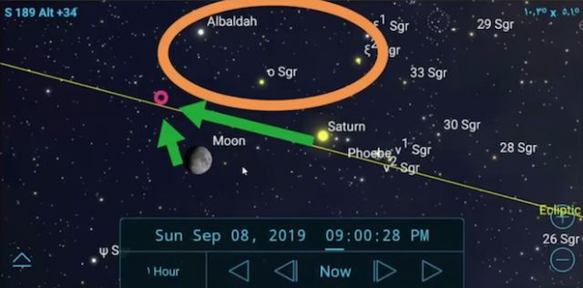 image sky map of the Moon near Nibiru in Sagittarius on September 8th 2019