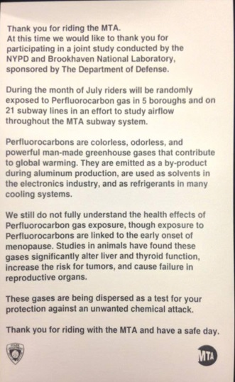 NYC - MTA Gas Test Backfires! New Yorkers Are Angry, And Rightly So! Widespread Health Problems Coming