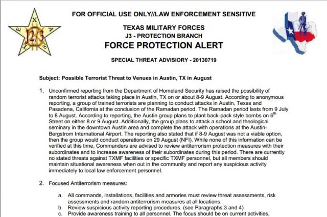 Feds Tell Texas Terror Attack Imminent - Force Protection Alert For Texas & California - August 9th & 29th - Bracing For Al-Qaeda Backpack Attacks
