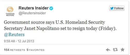 Janet Napolitano To Resign Today! Reuters Insider Tweet