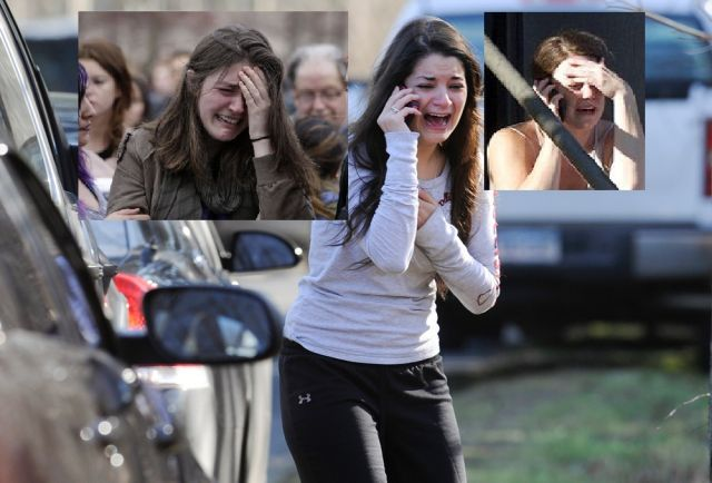 Same crying girl photographed at boston sandy hook and aurora