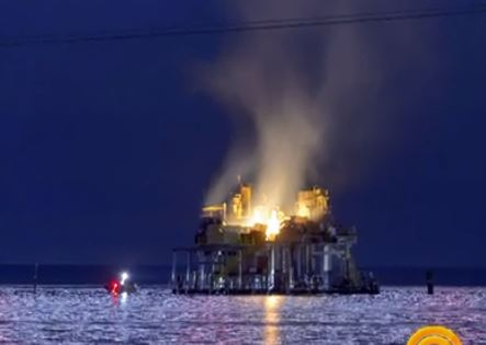 BP Oil Spill Part Two? Huge Oil Rig Explodes In Lake Pontchartrain!