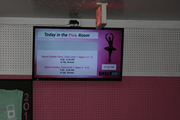 Dance studio digital signage by Simplicity